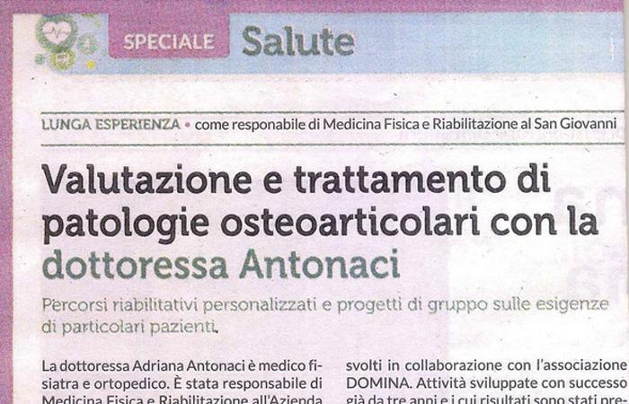 Valutazione e trattamento di patologie osteoarticolari con la Dottoressa Antonaci