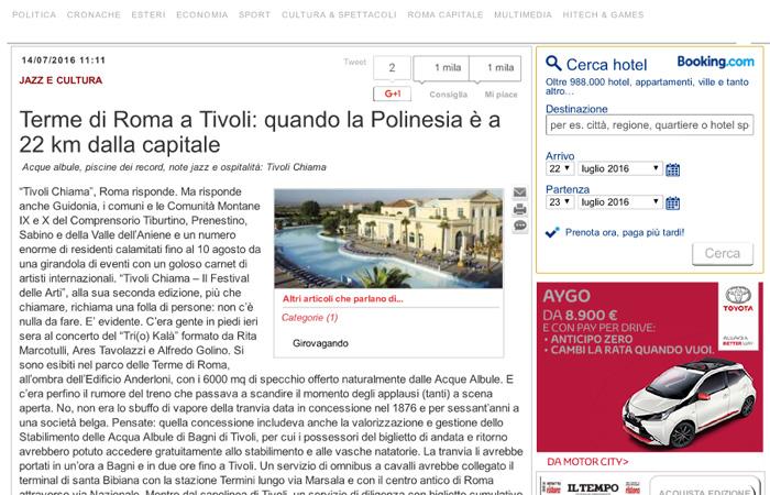 Terme di Roma a Tivoli, quando la Polinesia è a 22 km dalla capitale