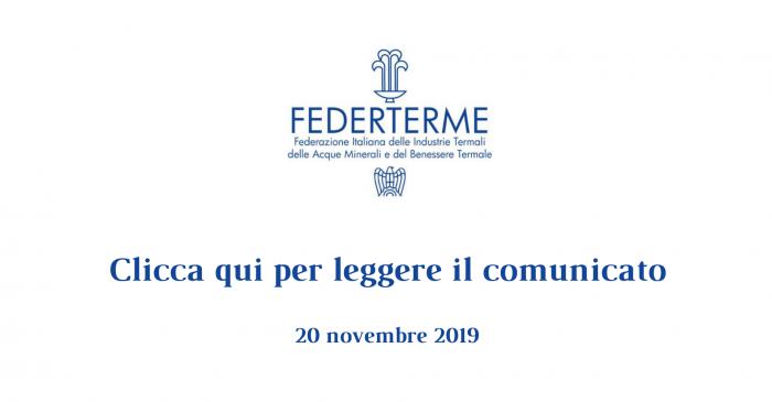 Comunicato Federterme - Novembre 2019